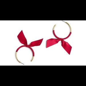 J. Crew Red ribbon wrapped hoop